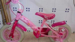 Bicicleta barbie rosa con ruedines