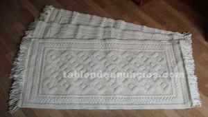 Conjunto de 3 alfombras de lana en color crudo