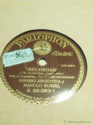Disco de pizarra de Parlophone de Imperio Argentina y manolo