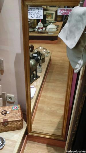 Espejo rectangular en madera y pan de oro años 50