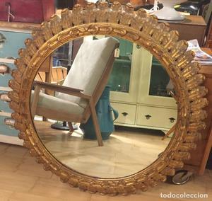 Gran espejo sol de madera 87 cm