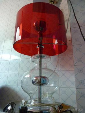 IMPRESIONANTE LAMPARA DE SOBREMESA BASE CRISTAL PANTALLA