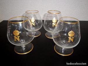 Lote de cuatro antiguas copas de cristal coñac/brandy