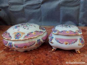 Par de cajas para joyas/decoración de porcelana, estilo