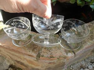 curiosa copa de cristal tallada lote de 3 copas antiguas con