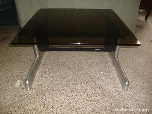 mesa de café Vintage en acero inoxidable y vidrio - Fabrica