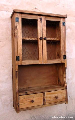 Mueble especiero de madera de 2 puertas con posot class - Muebles cocina rusticos madera ...