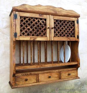 Antiguo platero de madera escurreplatos de posot class - Muebles cocina rusticos madera ...