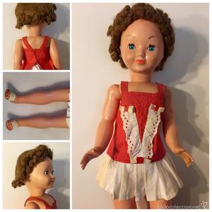 Muñeca MARISOL con pelo de mohair. Todo de origen mide 65cm
