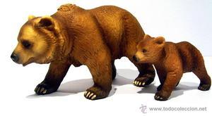 Osa grizzly con su osezno de Schleich, descatalogadas.