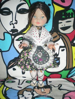 antigua muñeca morena completa de origen de regional
