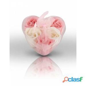 Florecilla jabón rosa y blanco para boda