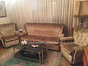 Conjunto sofá 3 plazas y 2 sillones vintage