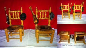 MINIATURAS: 2 sillas de madera para casa de muñecas miden