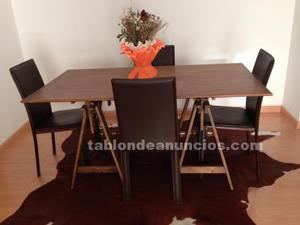 Mesa comedor madera + 4 sillas