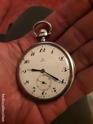 Reloj antiguo de bolsillo de plata labrada OMEGA con Núm