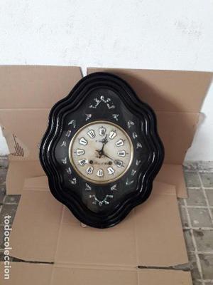 Reloj antiguo de ojo Buey máquina Morez esfera alabastro