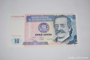 BILLETE PERU 10 INTIS  PLANCHA UNC FEDEROTA