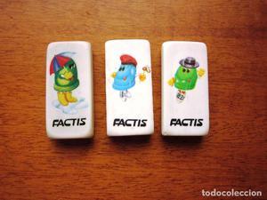 Lote de 3 gomas de borrar ilustradas dibujos de Factis.