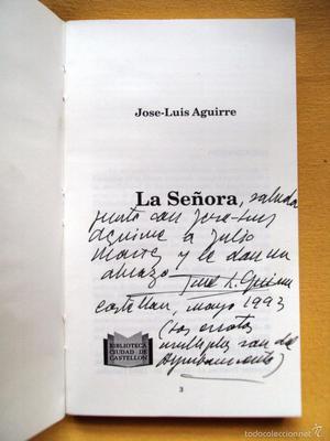 Libro Jose Luis Aguirre La señora con dedicacion del autor
