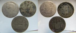 3 monedas de 1 peseta plata