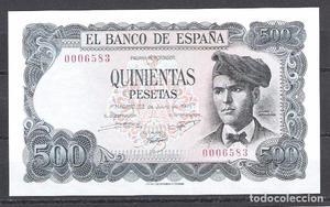 500 pesetas de  sin serie, número bajisimo, sin