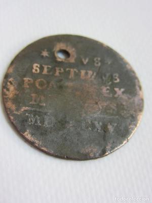 Antigua moneda de 1 soldo del Estado Pontificio Papa Pío