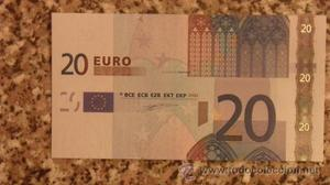 BILLETE DE 20 EUROS DEFECTUOSO