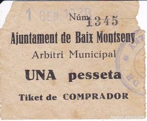 BILLETE DE AJUNTAMENT DE BAIX MONTSENY DE 1 PESETA DEL 1 DE