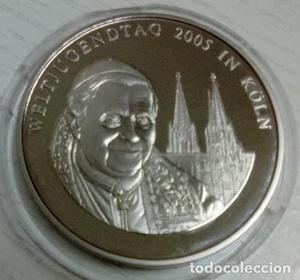 BONITA MONEDA PLATA DEL VATICANO DEL PAPA BENEDICTO XVI EN