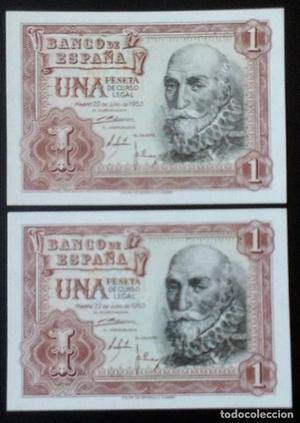 BONITA Pareja de 1 pesetas de CERVANTES sin circular
