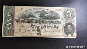 Billete Americano Confederado de 5 dolares emitido en el