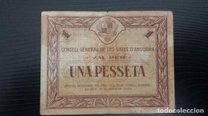 Billete local 1 peseta ANDORRA estado MBC.