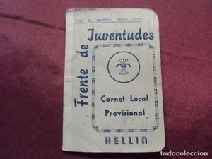 Carnet del FRENTE DE JUVENTUDES de Hellin(Albacete)