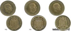 ESPAÑA, 1 Peseta ). (FDC). (3 monedas)