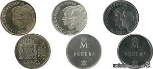 ESPAÑA, 500 Pesetas:  y Pruebas en Plata y Acero. (3