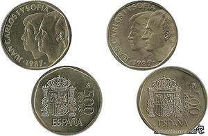 ESPAÑA, 500 Pesetas:  y  monedas)