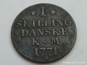 Escasa moneda de 1 Skilling de Dinamarca de , Rey