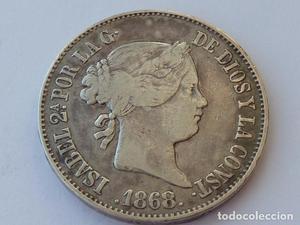 Excelente moneda de 1 Escudo de plata de  Isabel