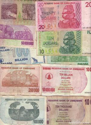 LOTE 10 BILLETES DIFERENTES DE ZIMBAWE