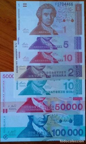LOTE 7 billetes de Croacia  SIN CIRCULAR