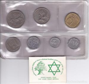 LOTE DE 7 MONEDAS DE ISRAEL EN SU ESTUCHE ORIGINAL