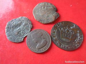 Lote de 4 monedas antiguas variadas