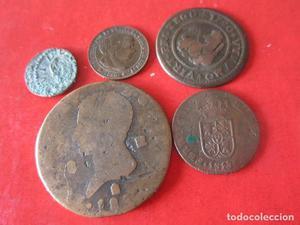 Lote de 5 monedas antiguas Españolas
