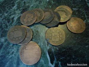 Lote de diez monedas de Alfonso XII