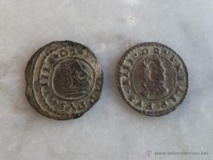 Lote de dos monedas de 8 Maravedís Felipe IV