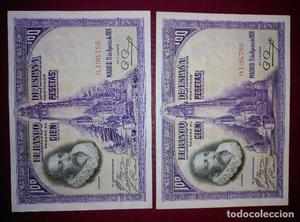 Pareja correlativa de 100 pesetas de  sin serie, nº