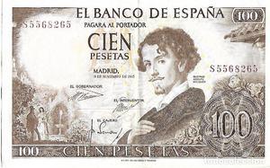 billete 100 cien pesetas  con error fallo de impresion
