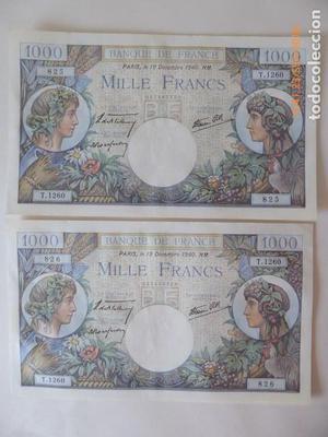 francia pareja de billetes de  francos numeros