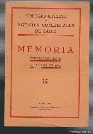 Colegio oficial de agentes comerciales de Cádiz.Memoria